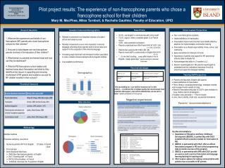 Pilot project results: The experience of non-francophone parents who chose a
