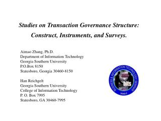 Studies on Transaction Governance Structure: Construct, Instruments, and Surveys.