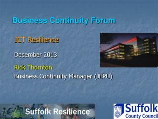 Business Continuity Forum ICT Resilience