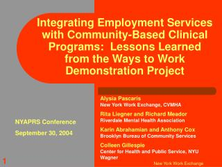 Integrating Employment Services with Community-Based Clinical Programs:  Lessons Learned from the Ways to Work Demonstra