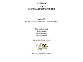 PROPOSAL FOR ELECTRICAL CONSTRUCTION BID