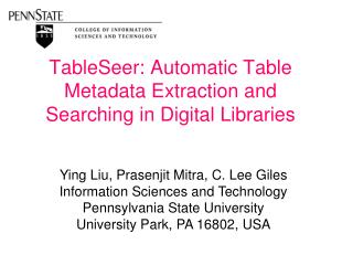 TableSeer: Automatic Table Metadata Extraction and Searching in Digital Libraries