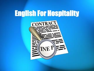English For Hospitality