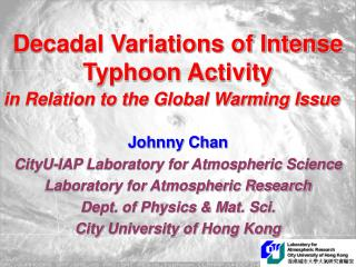 Decadal Variations of Intense Typhoon Activity