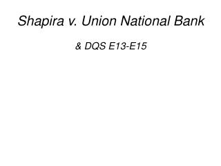 Shapira v. Union National Bank