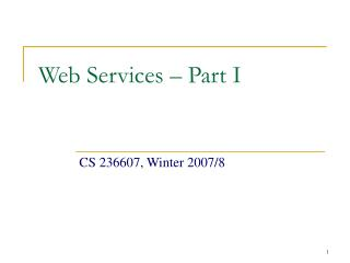 Web Services – Part I