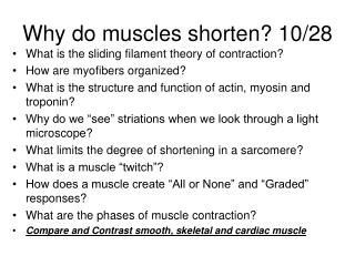 Why do muscles shorten? 10/28