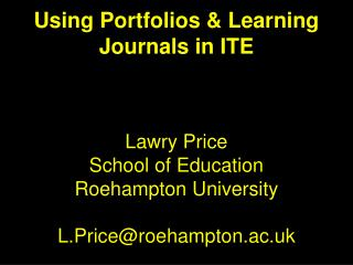 Portfolios & Learning Journals