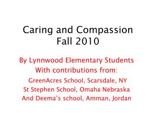 Caring and Compassion Fall 2010