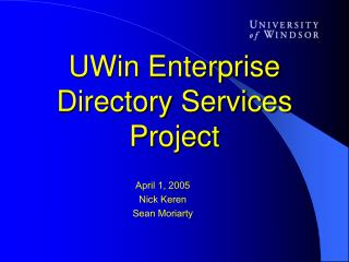 UWin Enterprise Directory Services Project