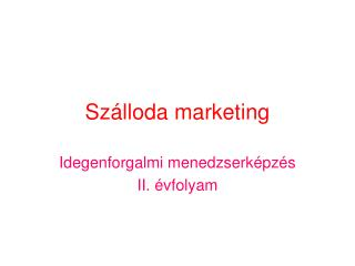 Szálloda marketing