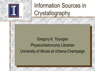 Information Sources in Crystallography