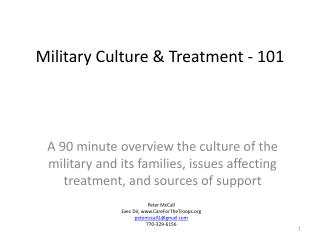 Military Culture & Treatment - 101