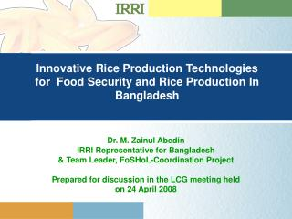 Innovative Rice Production Technologies for  Food Security and Rice Production In Bangladesh