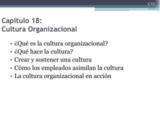 Capítulo 18: Cultura  Organizacional