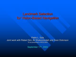 Landmark Selection for Vision-Based Navigation