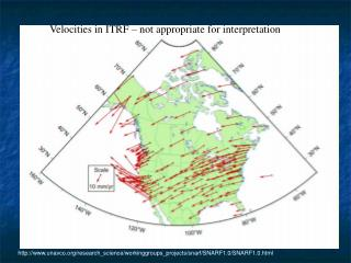 Velocities in ITRF – not appropriate for interpretation