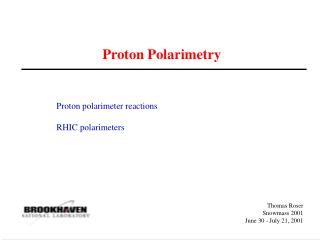 Proton Polarimetry