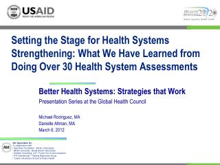 Better Health Systems: Strategies that Work Presentation Series at the Global Health Council