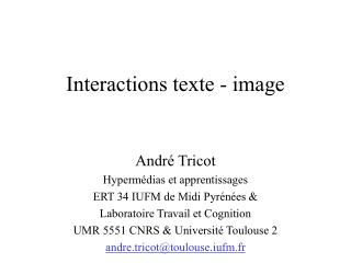 Interactions texte - image