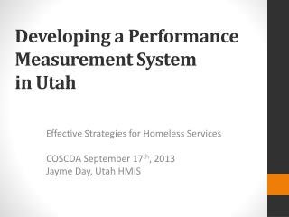 Developing a Performance Measurement System in Utah