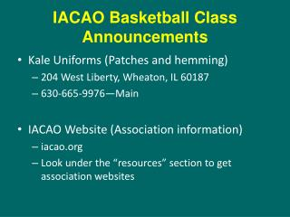 IACAO Basketball Class Announcements