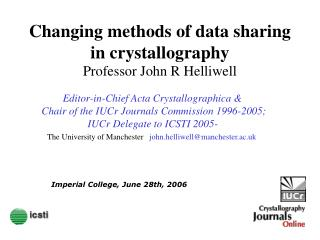 Changing methods of data sharing in crystallography