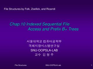 Chap.10 Indexed Sequential File                 Access and Prefix B+ Trees