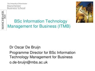 BSc Information Technology Management for Business (ITMB)
