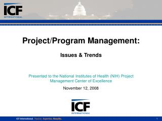 Project/Program Management: Issues & Trends