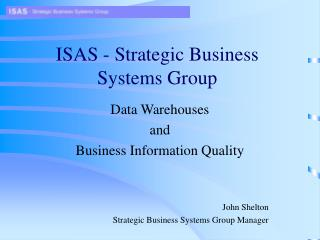 ISAS - Strategic Business Systems Group