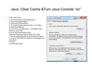 "Java: Clear Cache &Turn Java Console ""on"""
