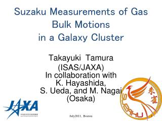 Suzaku Measurements of Gas Bulk Motions  in a Galaxy Cluster