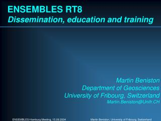ENSEMBLES RT8 Dissemination, education and training
