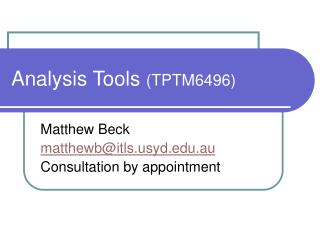 Analysis Tools  (TPTM6496)