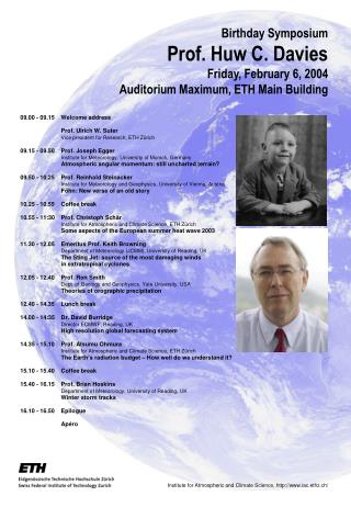 09.00 - 09.15 	Welcome address 	Prof. Ulrich W. Suter Vice president for Research, ETH Zürich