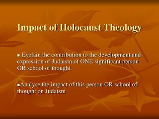 Impact of Holocaust Theology