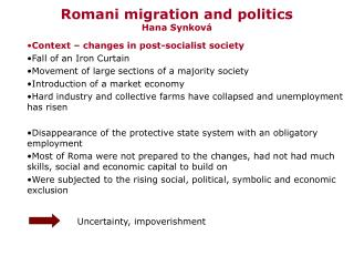 Romani migration and politics Hana Synková