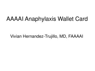 AAAAI Anaphylaxis Wallet Card