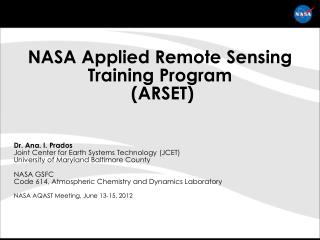 NASA Applied Remote Sensing Training Program  (ARSET)