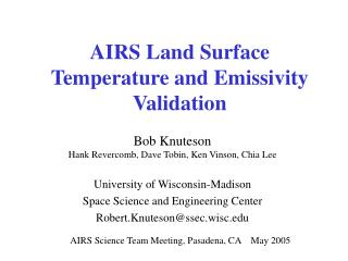 AIRS Land Surface  Temperature and Emissivity Validation