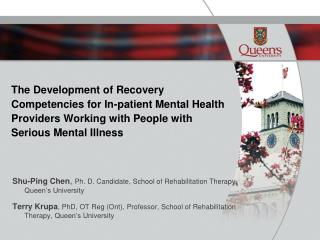The Development of Recovery Competencies for In-patient Mental Health Providers Working with People with Serious Mental