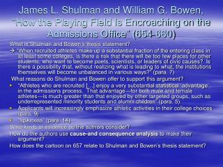 What is Shulman and Bowen's thesis statement?