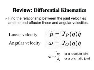 Review:  Differential Kinematics