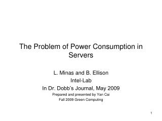 The Problem of Power Consumption in Servers