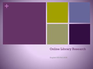 Online Library Research