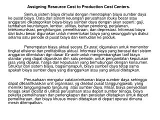 Assigning Resource Cost to Production Cost Centers.