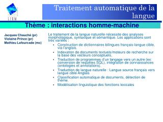 Traitement automatique de la langue