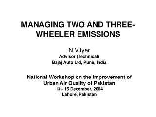 MANAGING TWO AND THREE-WHEELER EMISSIONS