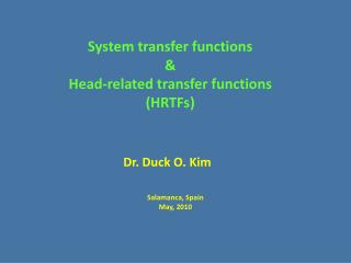 System transfer functions & Head-related transfer functions (HRTFs)